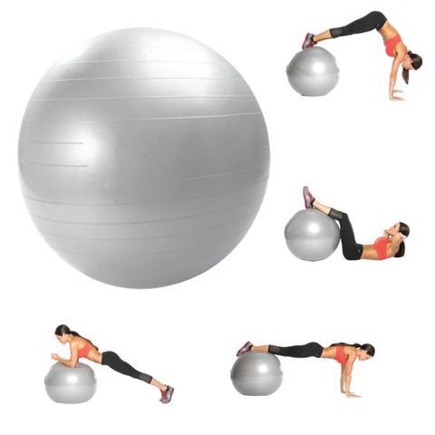 Imagem de Bola Ginástica Pilates Yoga Suíça Funcional 75cm BELFIT Cinza Anti Burst Com Bomba Ar