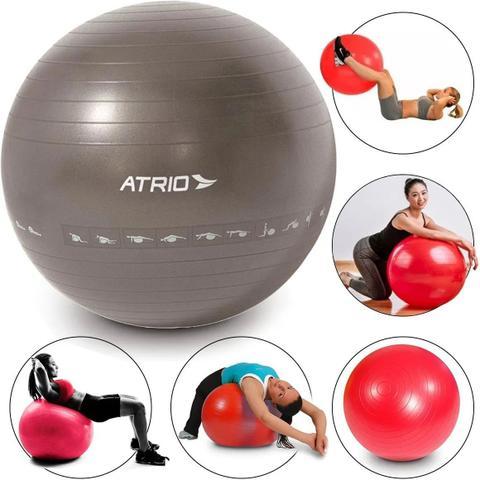 Imagem de Bola Gym Ball Suiça Pilates Yoga Ginastica 65cm com Diagrama de Exercício - Atrio