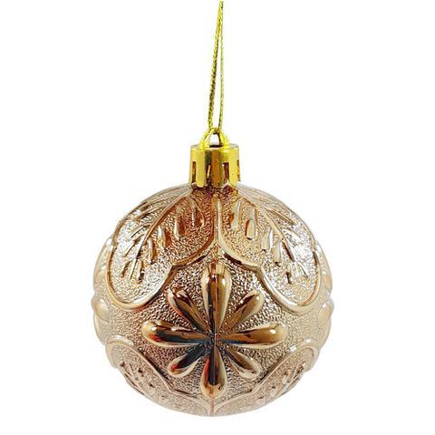 Imagem de Bola natal 60mm metalizada textura folha com flores champagne com 9 bolas - rio master -