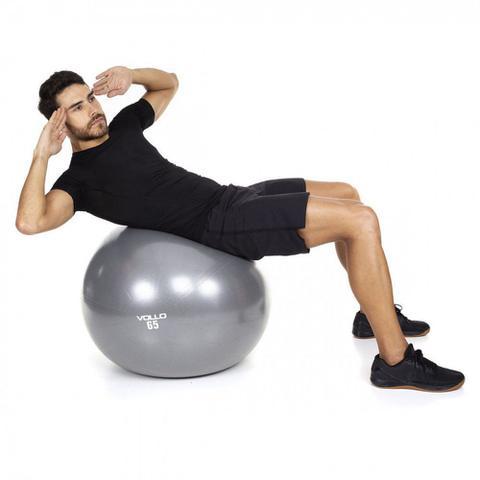 Imagem de Bola Pilates Ginastica Gym Ball 65 Cm Cinza com Bomba  Vollo Sports
