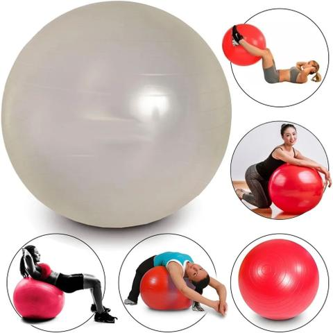 Imagem de Bola Pilates Yoga 55cm Academia Treino Ginástica Fitness Branco