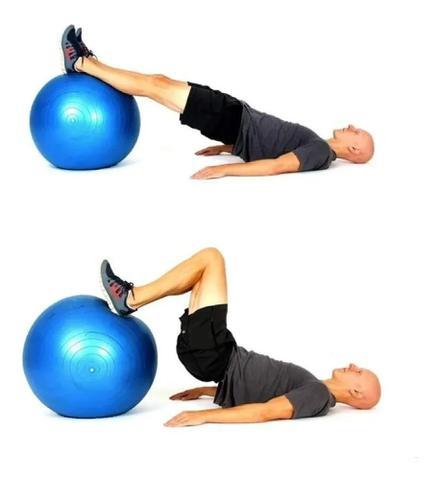 Imagem de Bola Pilates Yoga 65cm Academia Treino Ginástica Fitness Azul