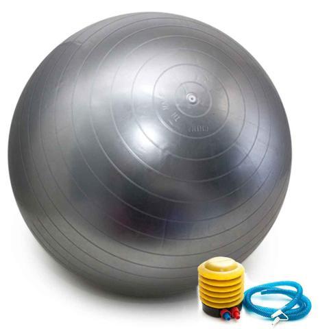 Imagem de Bola Pilates Yoga Abdominal Ginastica Fitness 55 cm C/ Bomba CINZA