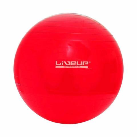 Imagem de Bola Suiça 45Cm Vermelha Anti Estouro + Mini Inflador Pilates Yoga Treino Exercício Academia Liveup