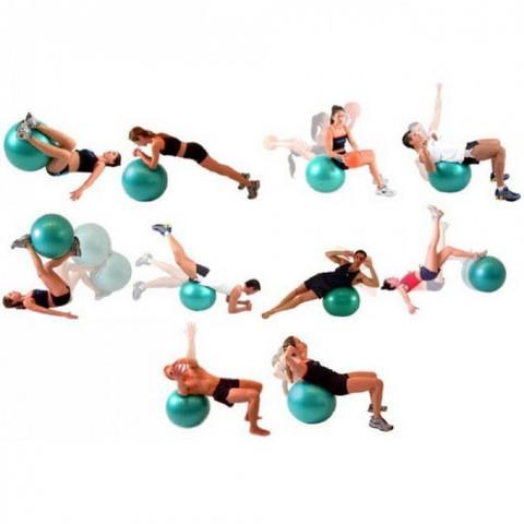 Imagem de Bola Suica 65 Cm com Ilustracao para Pilates e Yoga Cor Azul + Bomba de Dupla Acao de Mao  liveup