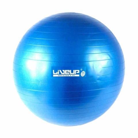 Imagem de Bola Suiça 65Cm Azul Anti Estouro + Mini Inflador Pilates Yoga Treino Exercício Academia Liveup