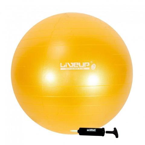 Imagem de Bola Suiça 75Cm Amarelo Anti Estouro + Mini Inflador Pilates Yoga Treino Exercício Academia Liveup