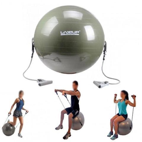 Imagem de Bola Suica para Pilates 65cm com Extensores  Liveup