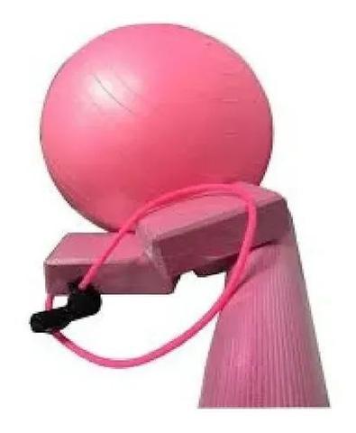 Imagem de Bola Suiça Rosa Claro 65 Cm c/ Bomba Live Riber - Yoga Pilates Fitness