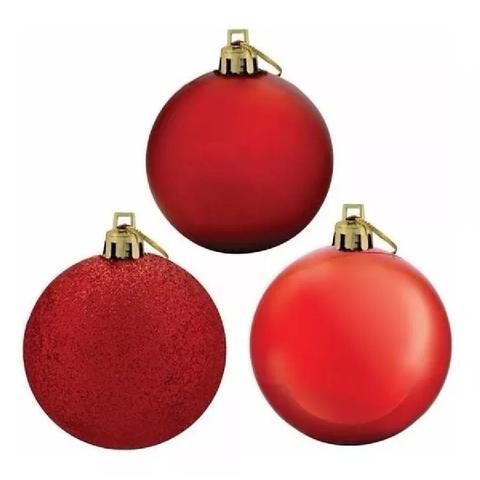 Imagem de Bolas De Natal Mista Vermelho 5cm 36 Unidades Decoração Árvore De Natal Magizi