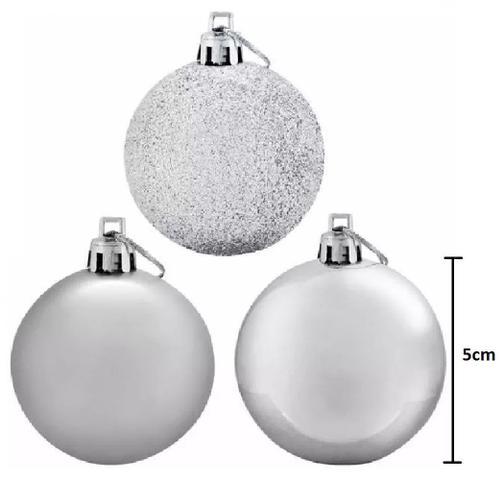 Imagem de Bolas De Natal Mista Vermelho, Dourado E Prata 5cm 72 Unidades Magizi