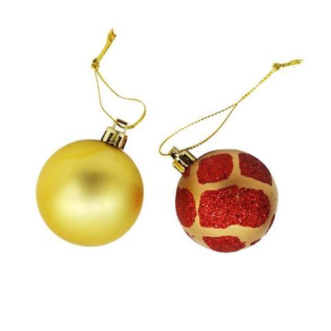 Imagem de Bolas Enfeite de Natal 5cm Vermelho e Ouro c/ 08 unidades