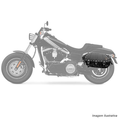 Imagem de Bolsa Alforge Lateral Moto Custom 40 Litros Universal Couro Ecológico Preto com Cravos e Franjas