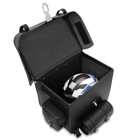 Imagem de Bolsa Alforge Traseiro Moto Custom 62 Litros Universal Sissy Bag com Chave Couro Liso Preto