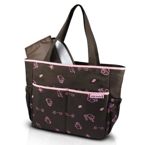6eac7e4e10 Imagem de Bolsa de bebê maternidade estampada com 4 bolsinhos e trocador  impermeável jacki design marrom