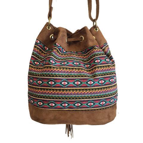 Imagem de Bolsa feminina transversal saco estampada étnica alças reguláveis  Colorida