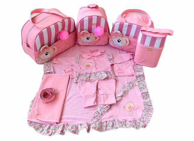 Imagem de Bolsa Maternidade 5 Peças Completo Ursa Orelhinha Listrado Térmica Rosa Bebê
