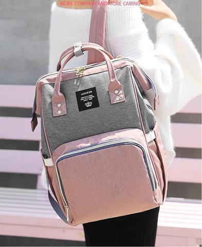 Imagem de Bolsa Mochila Maternidade Lequeen Original cinza com rosa