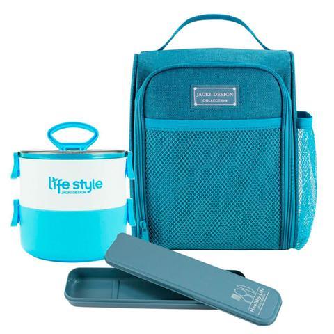 Imagem de Bolsa Térmica  Azul Concept com Marmita Dupla e Porta Talher