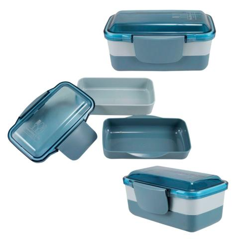Imagem de Bolsa Térmica Com Marmita Dupla, Copo E Porta Talheres Azul