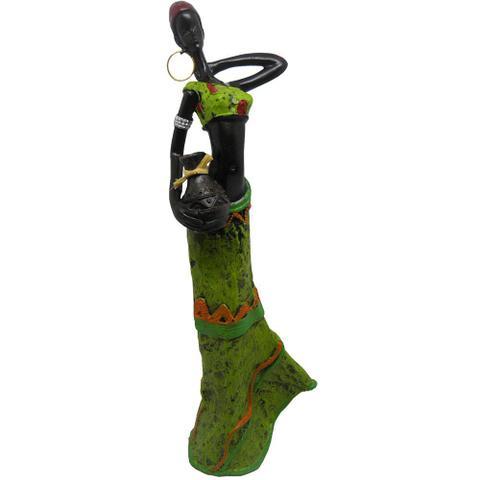 Imagem de Boneca Africana Resinada Enfeite Sala Mesa Decoracao Vestido Verde (6819)