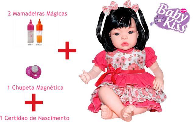 Imagem de Boneca Baby Kiss Estilo Reborn + Chupeta Magnética + Mamadeiras Magica