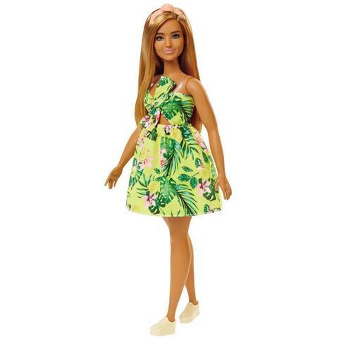 Imagem de Boneca Barbie Fashionista Loira Com Vestido Amarelo Florido 126