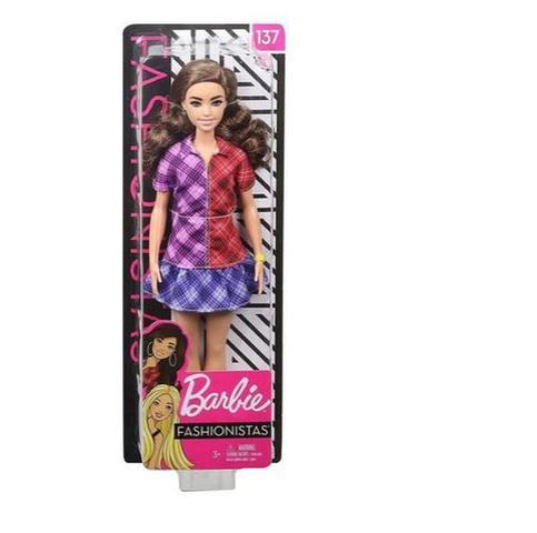 Imagem de Boneca Barbie Fashionista Morena Roupa Xadrez  Mattel