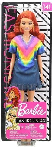 Imagem de Boneca Barbie Fashionistas - 141 Ruiva Vestido Camisa Tie Dye
