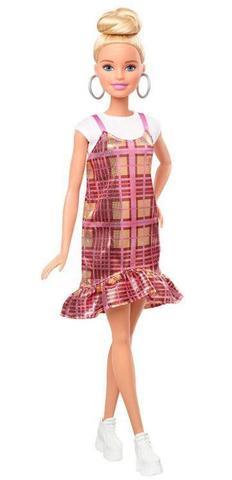 Imagem de Boneca Barbie Fashionistas - 142 Cabelo Loiro updo Vestido xadrez rosa dourado