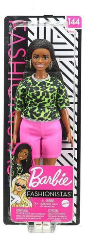 Imagem de Boneca Barbie Fashionistas - 144 Cabelo Trançado Longo Blusa Verde Neon Animal Shorts Pink