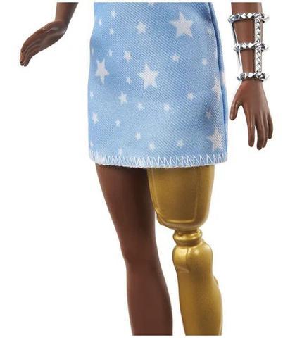 Imagem de Boneca Barbie Fashionistas - 146 Morena Tranças Torcidas Perna Protética Vestido Estrelas