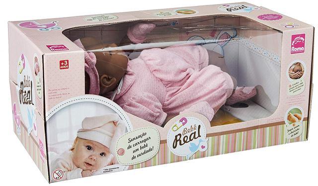 Imagem de Boneca Bebê Real Negra Estilo Reborn Roma Brinquedos