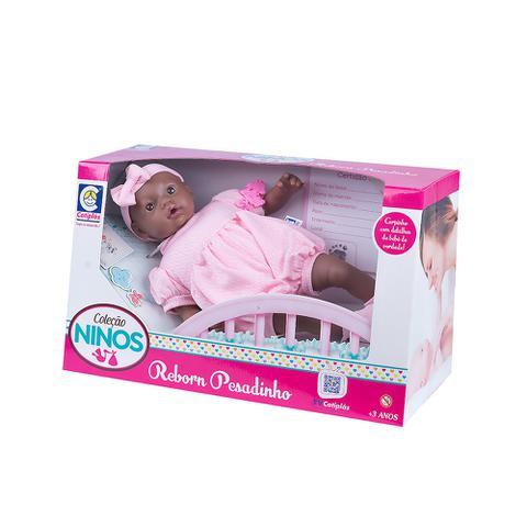Imagem de Boneca bebê reborn coleção ninos pesadinho negra - cotiplás