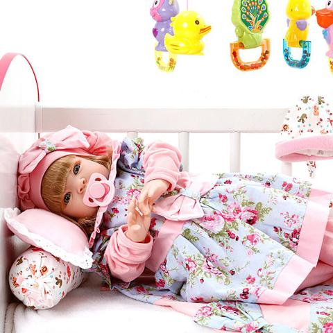 Imagem de Boneca Bebe Reborn Linda Flor Cegonha Reborn Dolls Mais 22 Acessórios 53cm