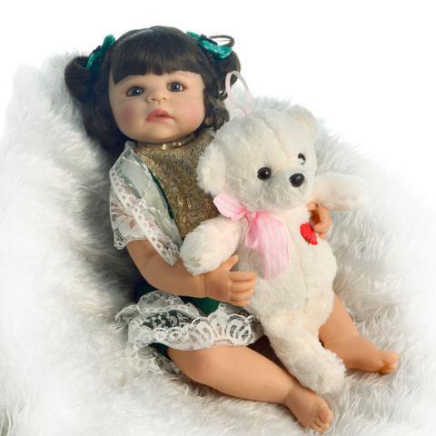 Imagem de boneca bebe reborn menina de silicone realista