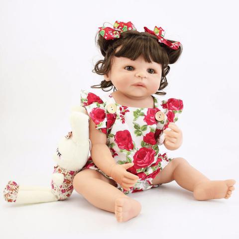 Imagem de Boneca Bebê Reborn Menina Real Inteira Silicone Morena 55 Cm