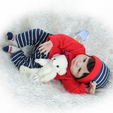 Imagem de boneca bebe reborn menino 55cm realista corpo todo de silicone