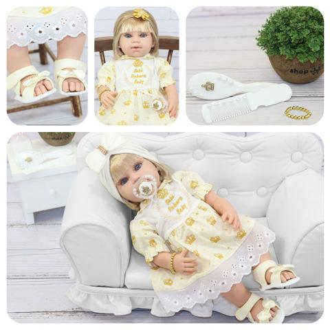 Imagem de Boneca Bebê Reborn Princesa Loira Roupa Creme 53cm