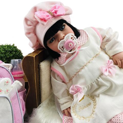 Imagem de Boneca Bebê Reborn Princesa Morena Roupa Rosa 53cm