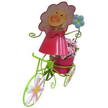 Imagem de Boneca de Flor com Bicicleta de Ferro Para Enfeite e Decoraçao de Jardim (BON-P-11)