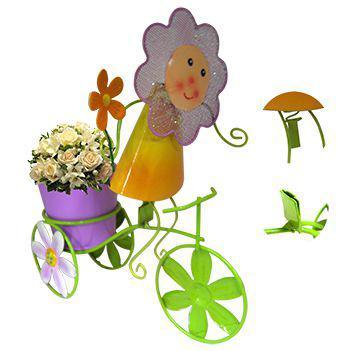 Imagem de Boneca de Flor com Bicicleta Enfeite e Decoraçao Jardim Casa Flores Vaso Lilas (BON-P-11)