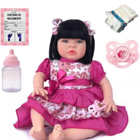 Imagem de Boneca Menina Bebê Realista Tipo Reborn Roupa Linda
