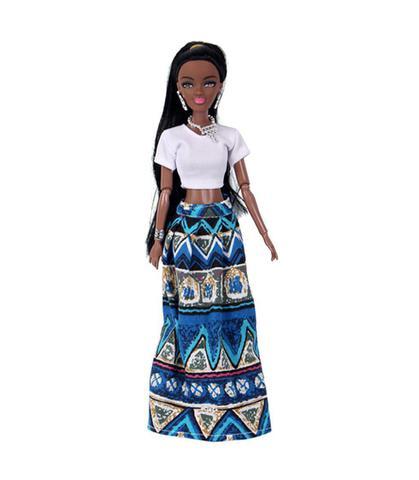 Imagem de Boneca Negra Estilo Barbie Articulada 32cm Africana azul