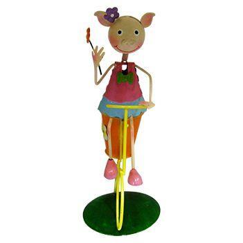 Imagem de Boneca Porquinha com Bicicleta de Ferro Para Enfeite e Decoraçao de Jardim (BON-M-15)