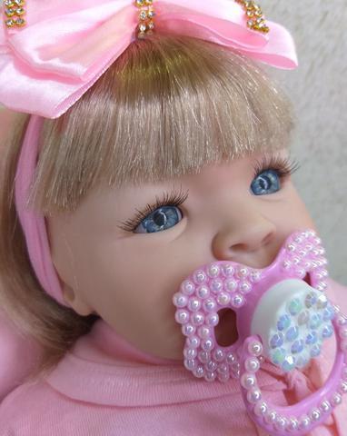 Imagem de Boneca Reborn Loira Bebê Realista 14 Itens Pronta Entrega Menina
