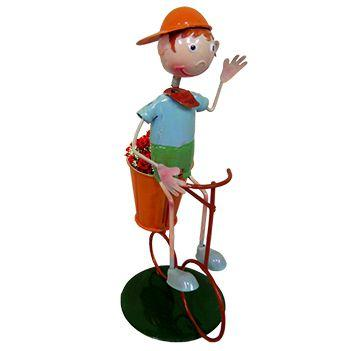 Imagem de Boneco com Bicicleta de Ferro Para Enfeite e Decoraçao de Jardim (BON-M-13)