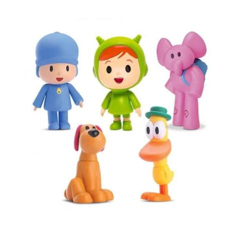 Imagem de boneco de vinil familia pocoyo nina elly pato loula com 05 bonecos