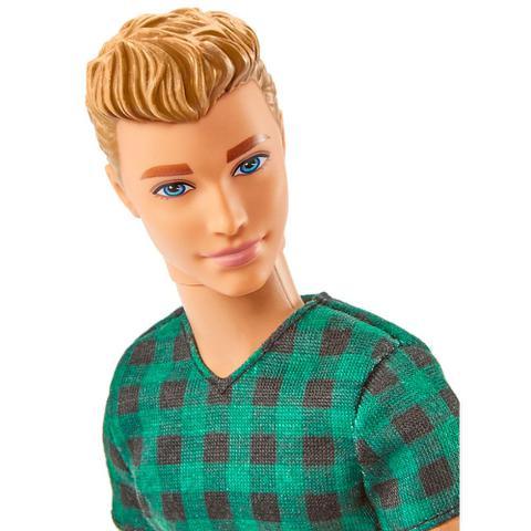 Imagem de Boneco Ken Fashionistas - Blusa Xadrez Verde e Preta - Mattel
