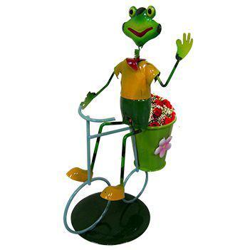 Imagem de Boneco Sapo com Bicicleta de Ferro Para Enfeite e Decoraçao de Jardim (BON-M-14)